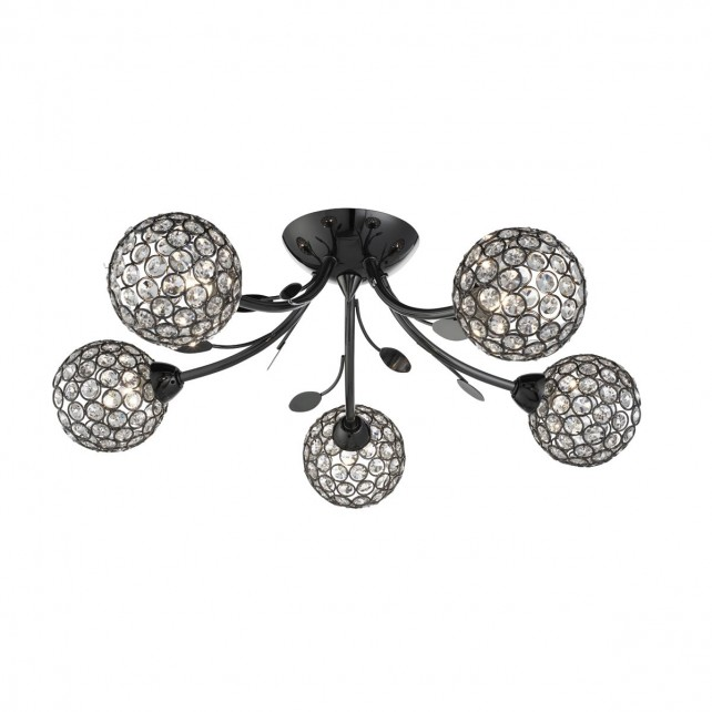 Bellis Ii - 5 Light Semi-Flush Ceiling Light, Black Chrome With Clear Glass Deco Shades