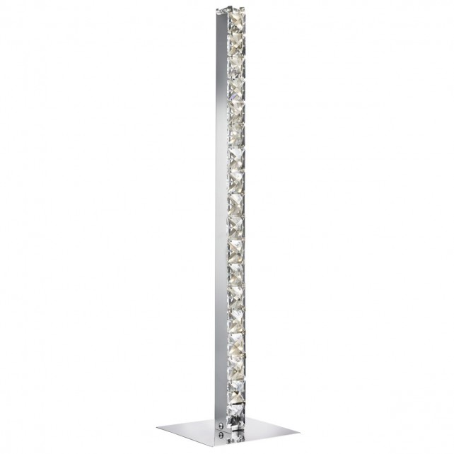 Clover Led Column Table Lamp, Chrome, Clear Crystal Trim