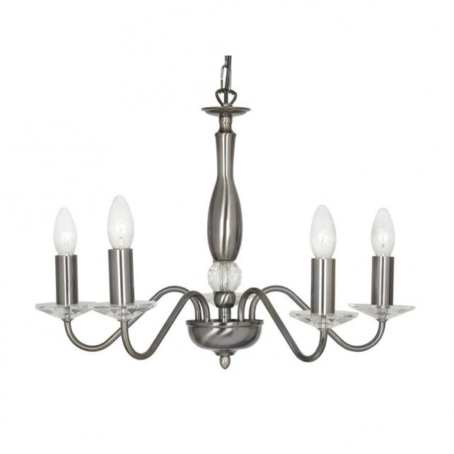 Oaks Lighting 7348/5 AS Vesta Antique Silver Pendant