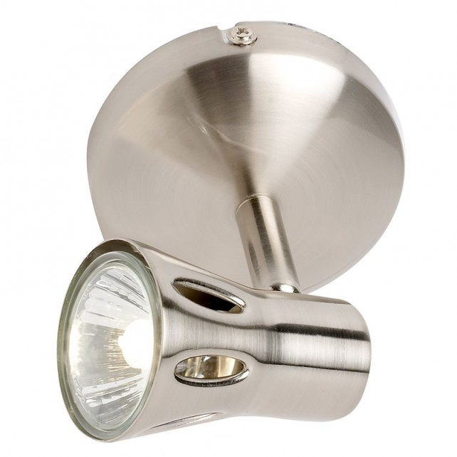 Single Spot Light Wall Light - Satin Chrome (unswitched)