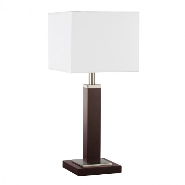 Waverley Table & Floor Lamp 1 Light Brown Wood Satin Silver Rectangular