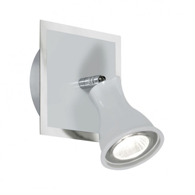 Biba Wall Spotlight - 1 Light, White with Chrome