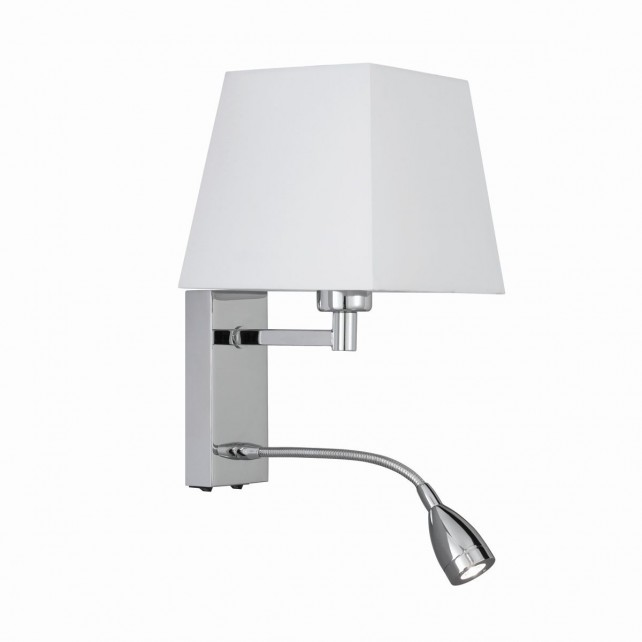 Modern Bedside Light - Chrome & Shade