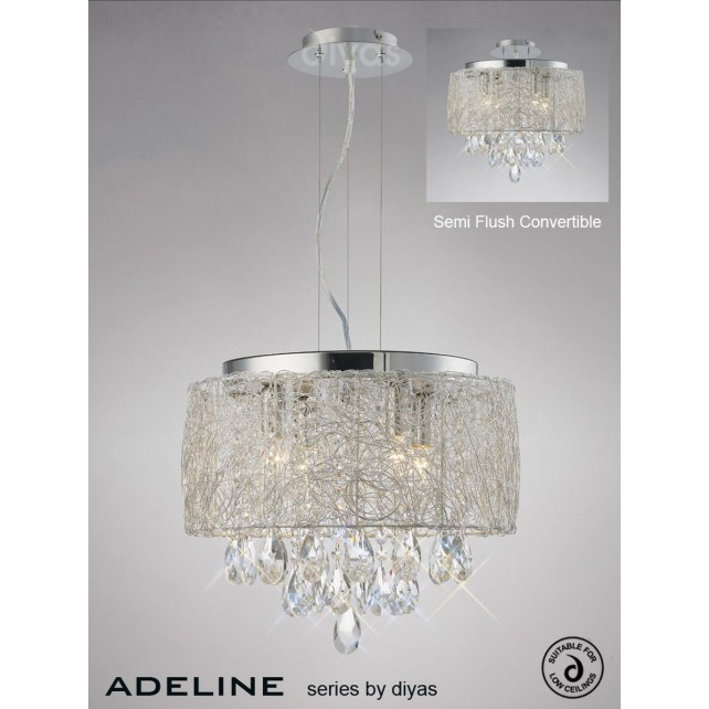 Diyas Adeline Pendant 4 Light Polished Chrome/Crystal