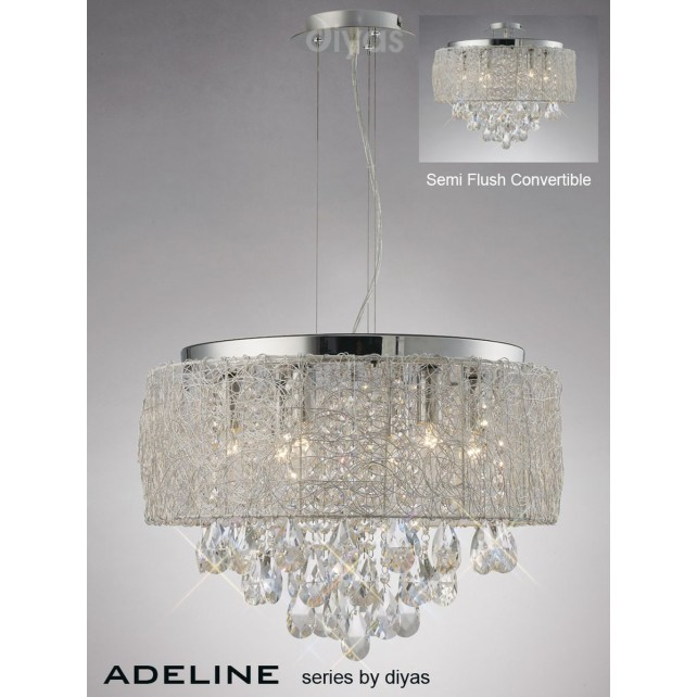 Diyas Adeline Pendant 6 Light Polished Chrome/Crystal