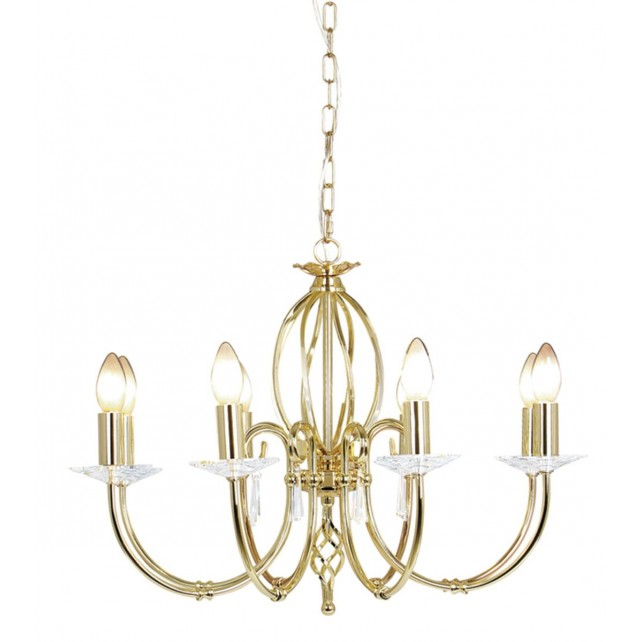 Elstead AG8 POL BRASS Aegean 8 - Light Chandelier Polished Brass