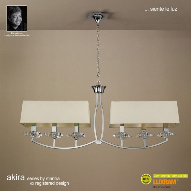 Akira Pendant 6 Light Polished Chrome With Cream Shade