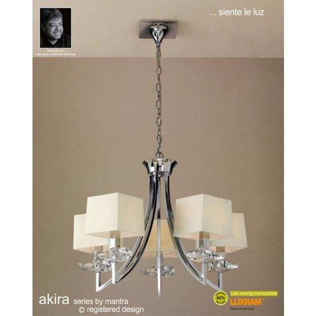 Akira Pendant 5 Light Polished Chrome With Cream Shade
