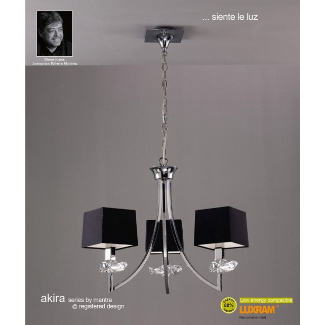 Akira Pendant 3 Light Polished Chrome With Black Shade