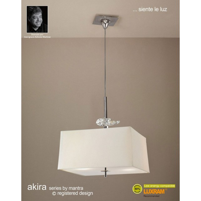 Akira Pendant 4 Light Polished Chrome With Cream Shade