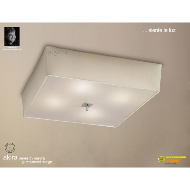 Akira Ceiling 4 Light Polished Chrome With Cream Shade