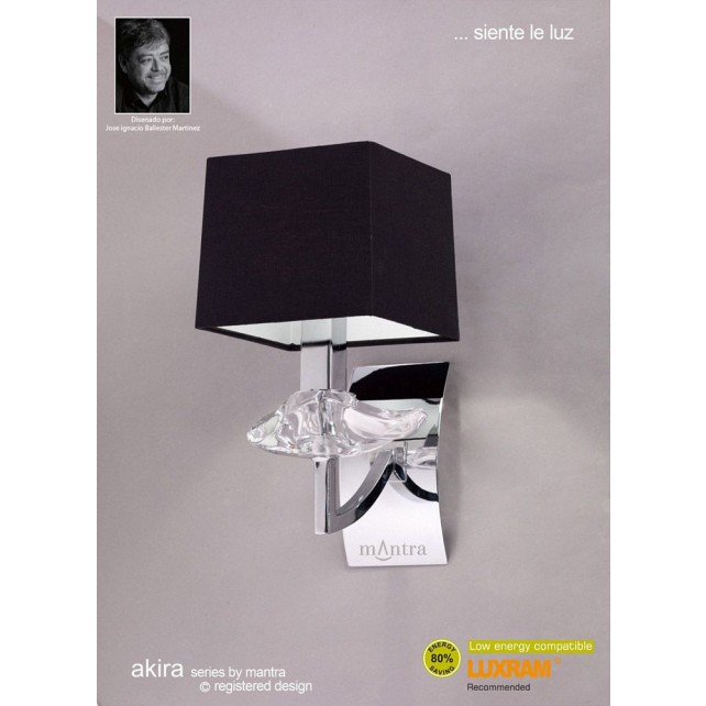 Akira Wall 1 Light Polished Chrome With Black Shade
