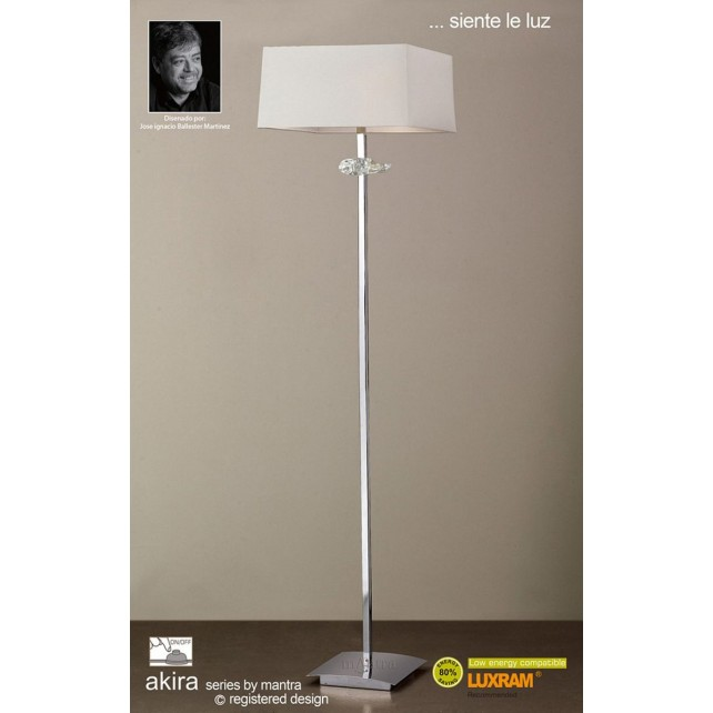 Akira Floor 3 Light Polished Chrome With Cream Shade