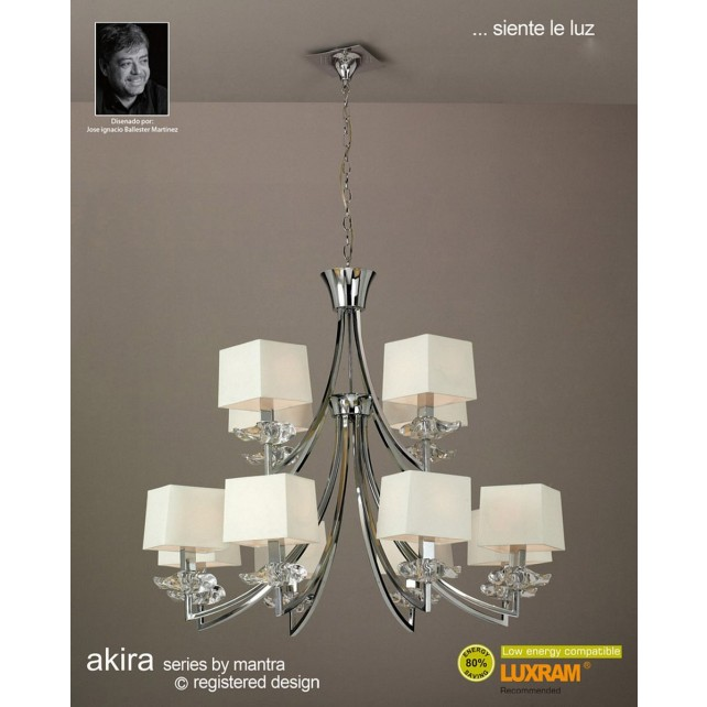 Akira Pendant 12 Light Polished Chrome With Cream Shade