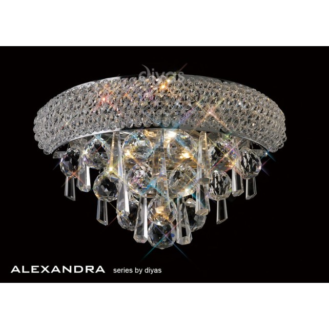 Diyas Alexandra Wall Lamp 1 Light Chrome/Crystal