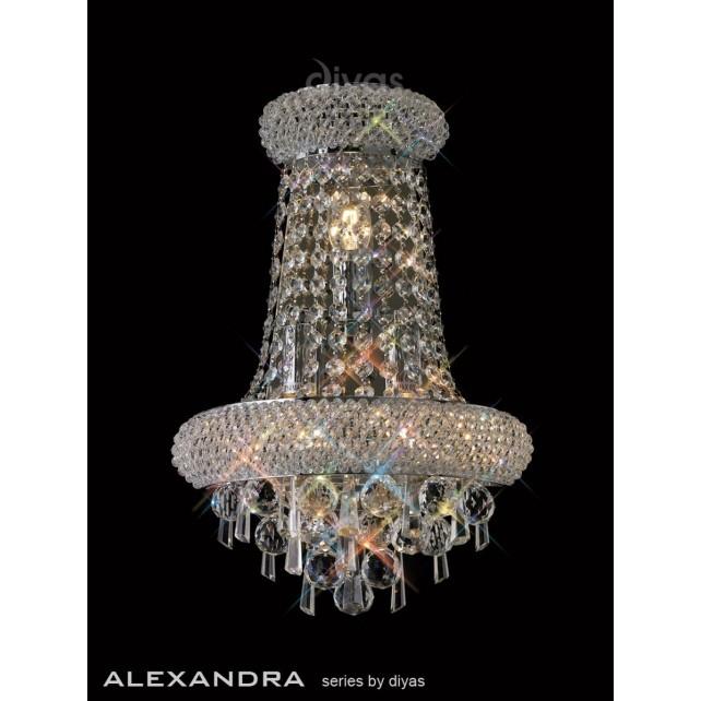 Diyas Alexandra Wall Lamp 3 Light Chrome/Crystal