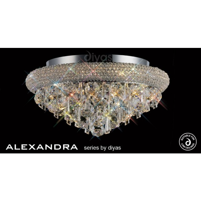 Diyas Alexandra Ceiling 6 Light Chrome/Crystal