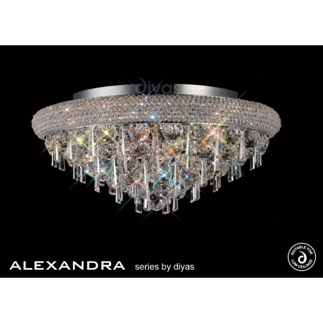 Diyas Alexandra Ceiling 7 Light Chrome/Crystal