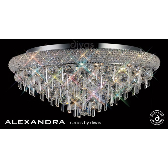 Diyas Alexandra Ceiling 9 Light Chrome/Crystal