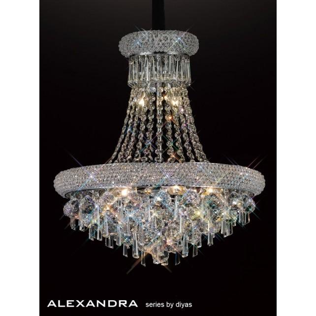 Diyas Alexandra Pendant 9 Light Chrome/Crystal