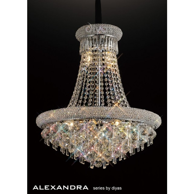 Diyas Alexandra Pendant 13 Light Chrome/Crystal