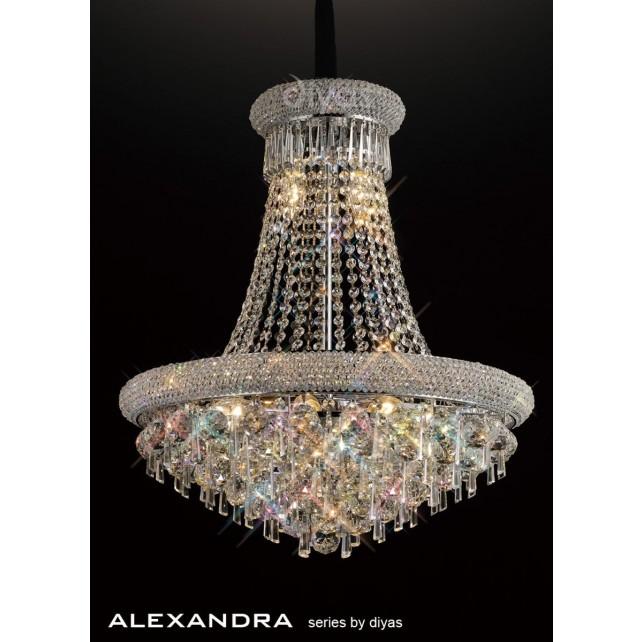 Diyas Alexandra Pendant 13 Light Chrome/Crystal
