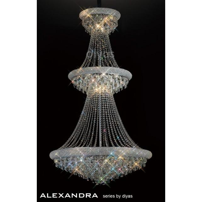 Diyas Alexandra Pendant 29 Light Chrome/Crystal