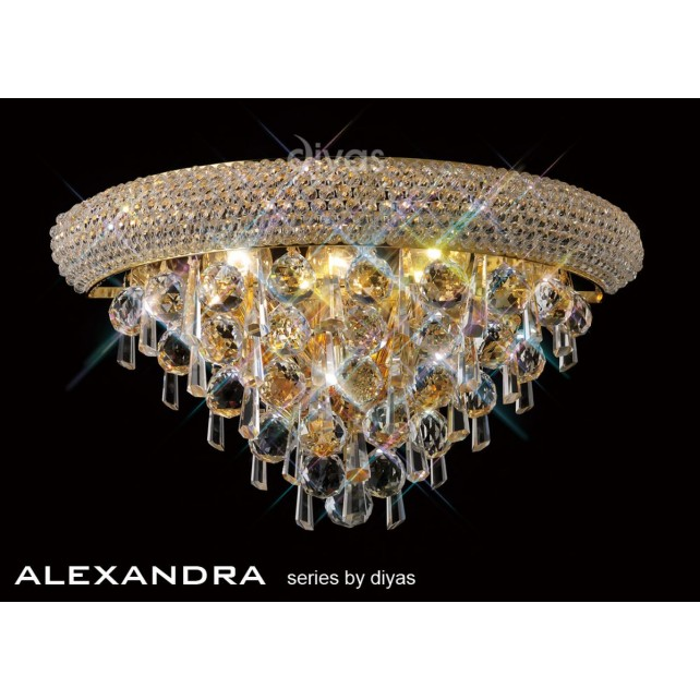 Diyas Alexandra Medium Wall Lamp 3 Light French Gold/Crystal