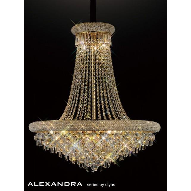 Diyas Alexandra Pendant 20 Light French Gold/Crystal