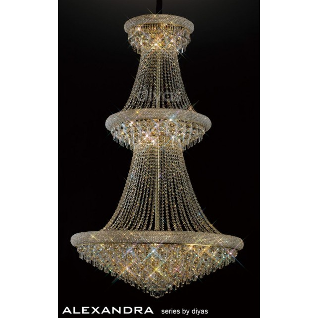 Diyas Alexandra Pendant 29 Light French Gold/Crystal