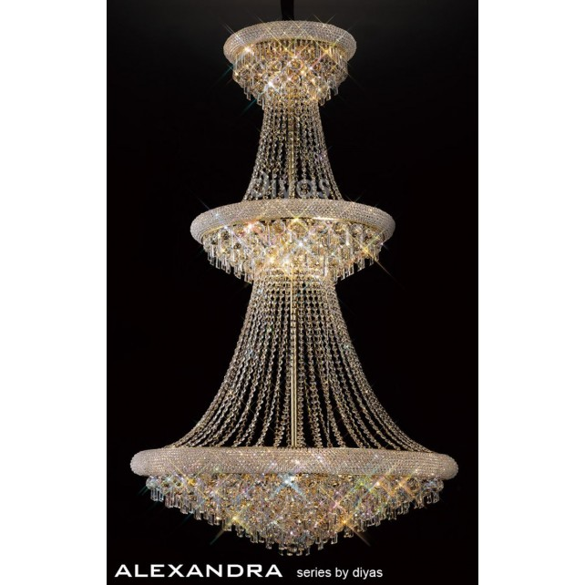 Diyas Alexandra Pendant 37 Light French Gold/Crystal
