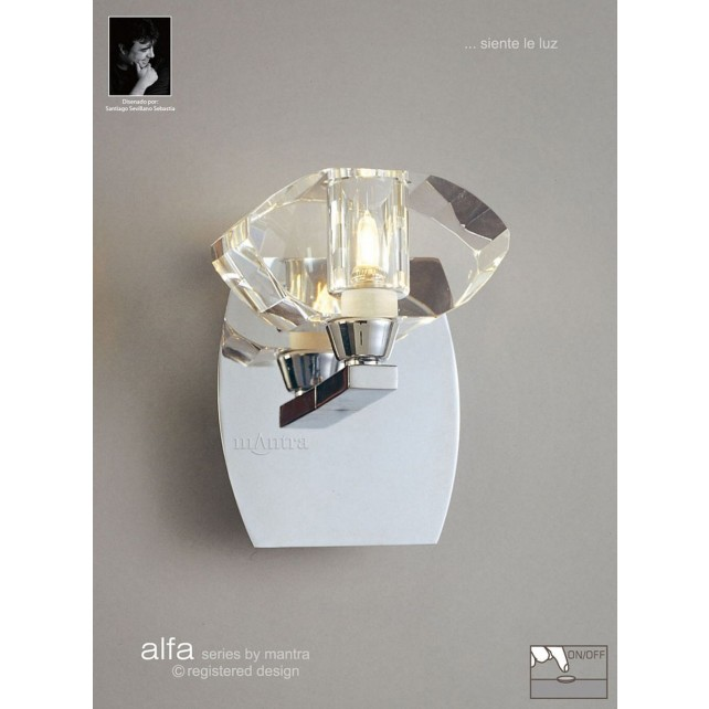 Alfa Wall Lamp 1 Light Polished Chrome Switched