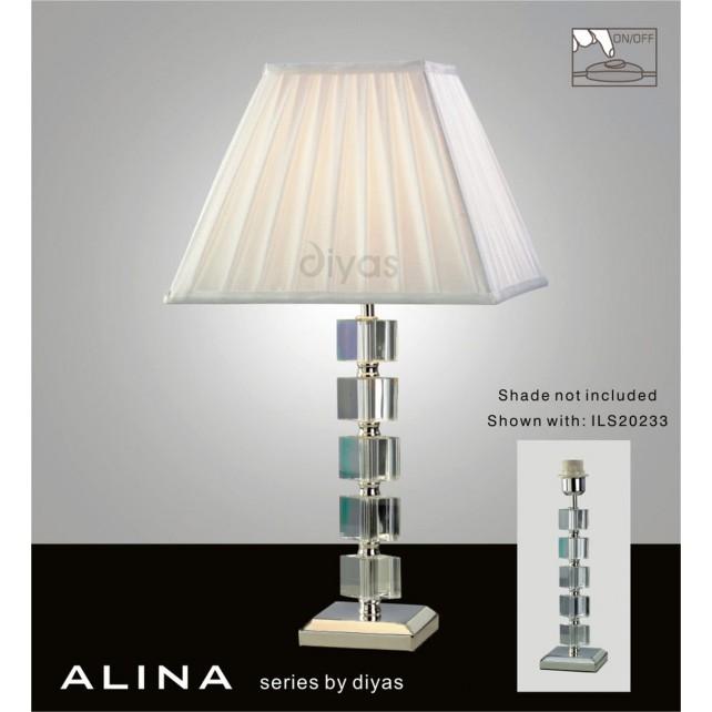 Diyas Alina Table Lamp 1 Light Polished Chrome/Crystal