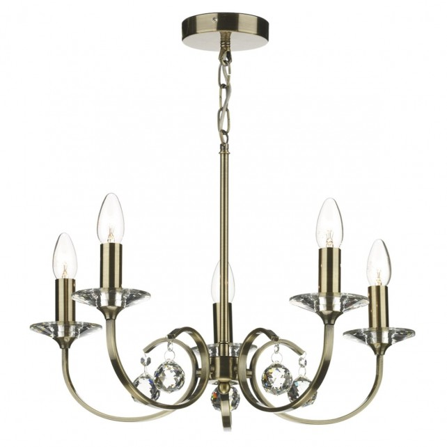 Allegra 5 Light Ceiling Light - Antique Brass