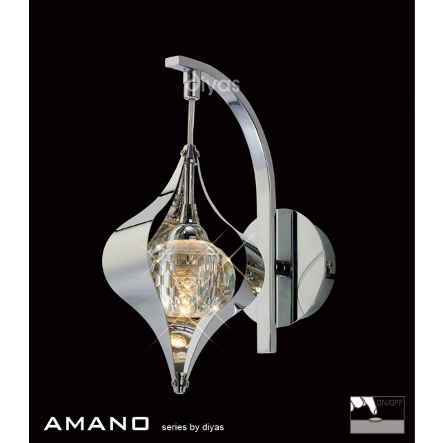 Diyas Amano Wall Lamp 1 Light Switched Polished Chrome/Crystal
