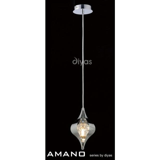 Diyas Amano Pendant 1 Light Polished Chrome/Crystal