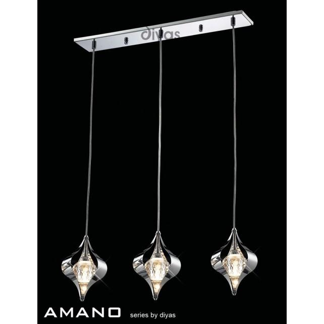 Diyas Amano Pendant 3 Light Polished Chrome/Crystal