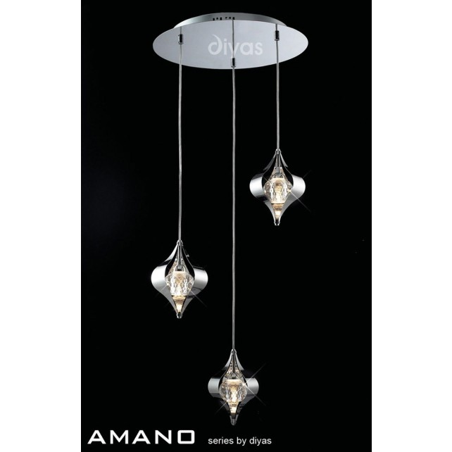 Diyas Amano Round Pendant 3 Light Polished Chrome/Crystal