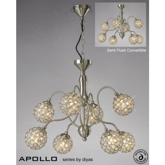 Diyas Apollo 8 Light Pendant Satin Nickel/Crystal