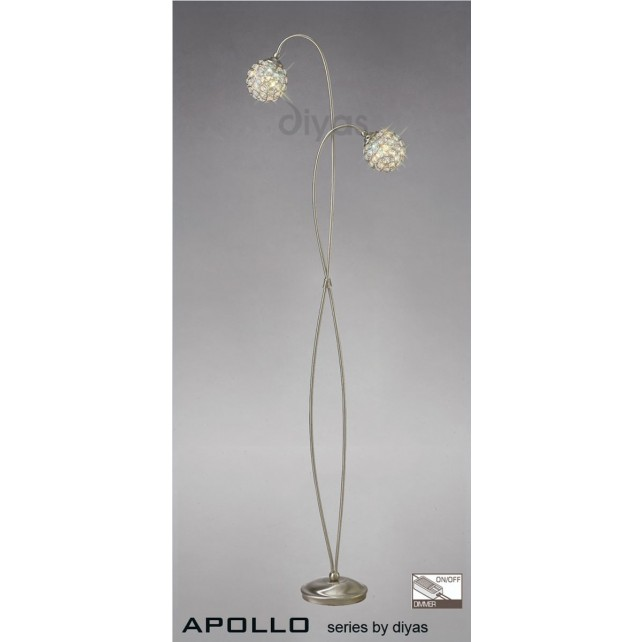 Diyas Apollo 2 Light Floor Lamp Satin Nickel/Crystal