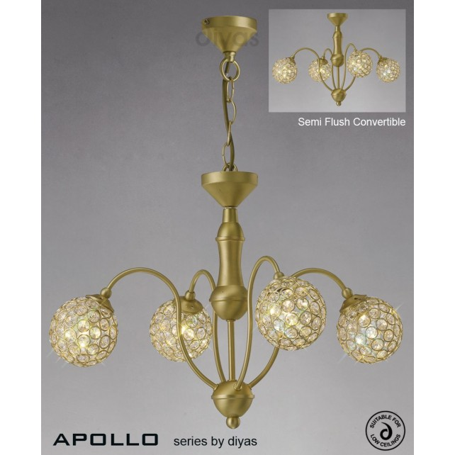 Diyas Apollo 4 Light Pendant Satin Brass/Crystal