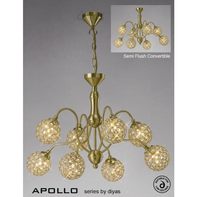 Diyas Apollo 8 Light Pendant Satin Gold