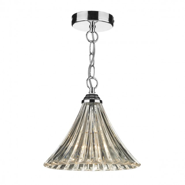 Ardeche Fluted Glass Pendant Light - Chrome