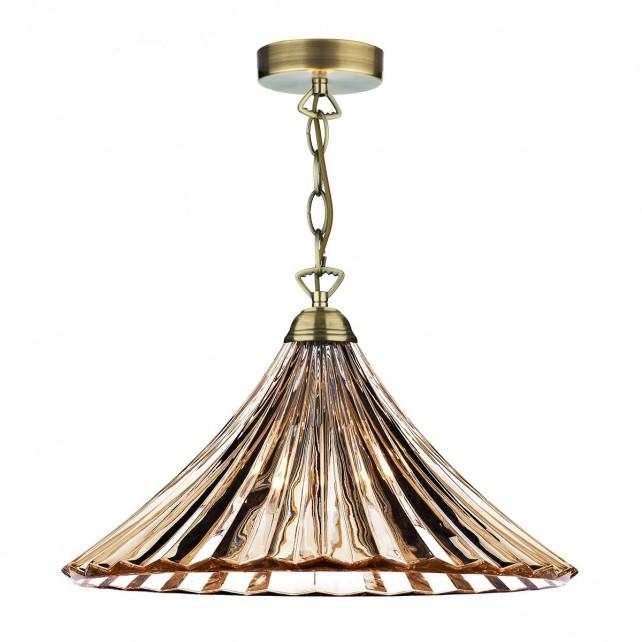 Ardeche 1 Light Large Pendant Light - Amber Glass