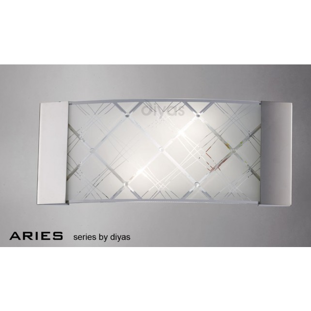 Diyas Aries Wall Lamp 2 Light Chrome/Crystal