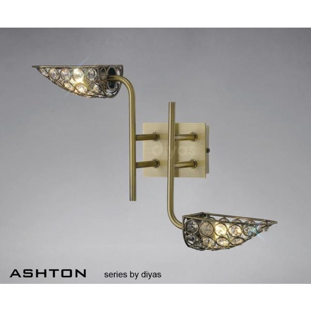Diyas Ashton 2 Light Wall Bracket Antique Brass/Crystal