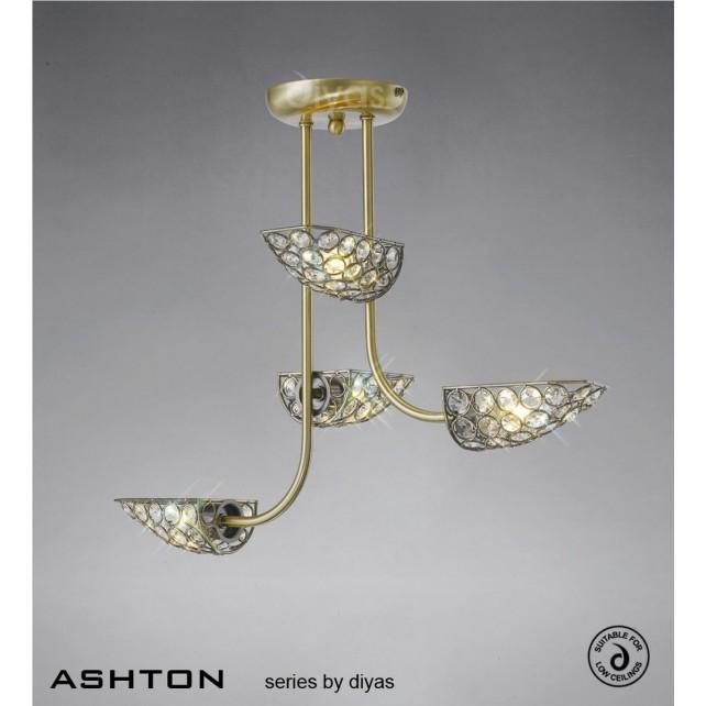 Diyas Ashton 4 Light Semi-Flush Antique Brass/Crystal