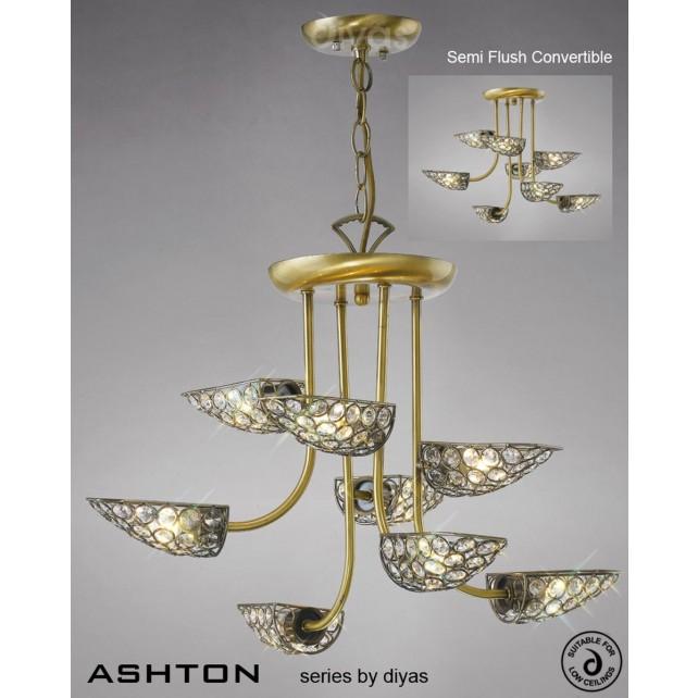 Diyas Ashton 8 Light Pendant Antique Brass/Crystal