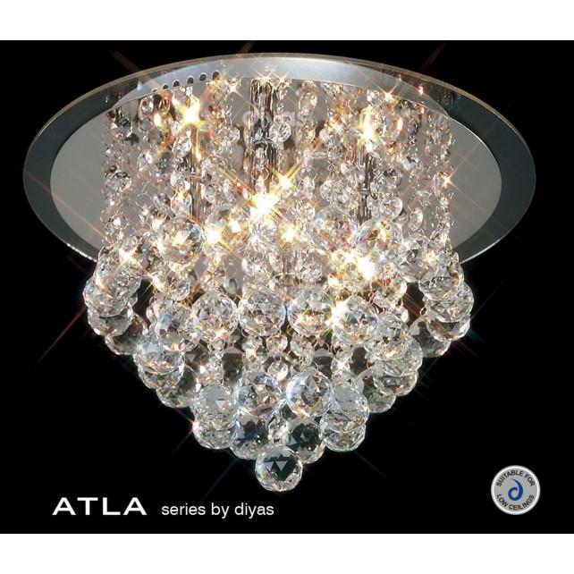 Diyas Atla Flush Ceiling 4 Light Round Polished Chrome/Crystal
