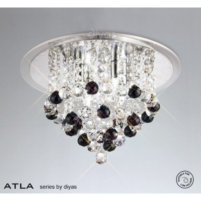 Diyas Atla Ceiling 4 Light Chrome/Crystal With Clear Acrylic Trim